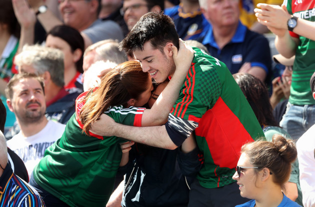 Mayo fans celebrate their first goal