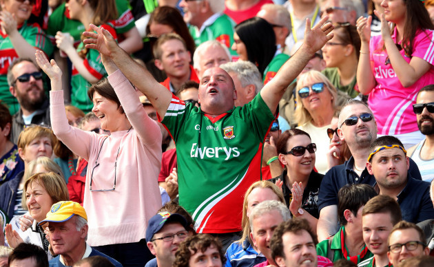Mayo fan celebrates their third goal