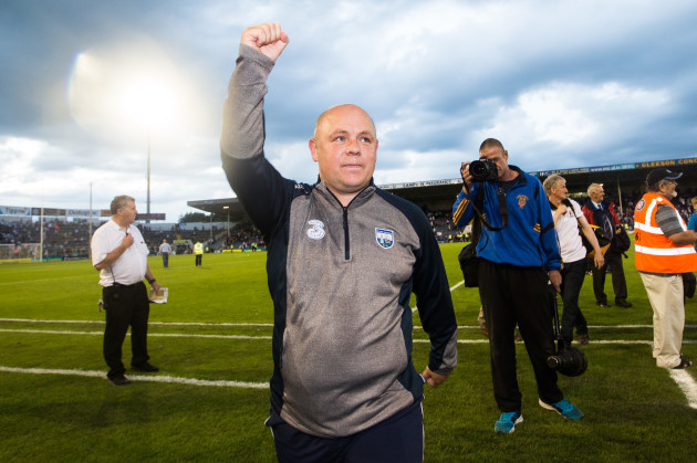 Derek McGrath celebrates after the game