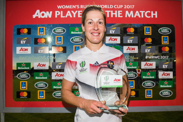 Caroline Ladagnous is presented with the AON Player of the Match award