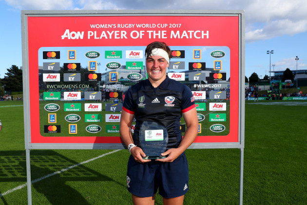 Sara Parsons is presented with the AON Player of match award