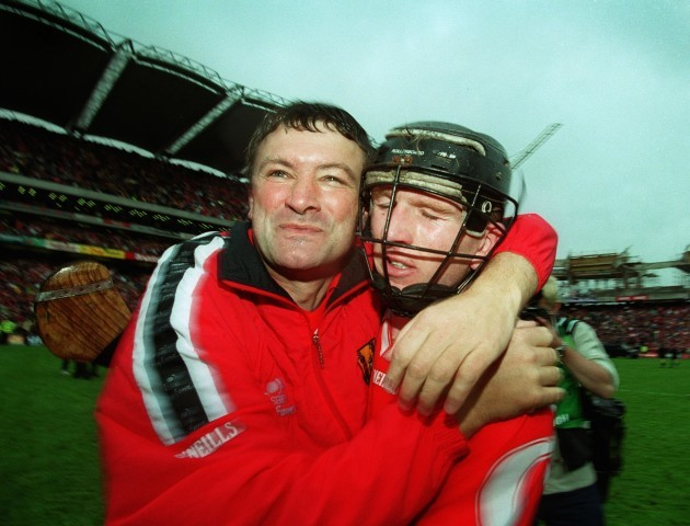 Jimmy Barry Murphy and Wayne Sherlock celebrate 12/9/1999