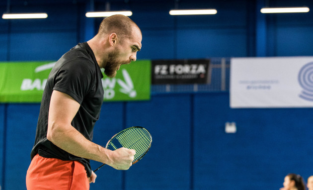 Scott Evans celebrates winning his match