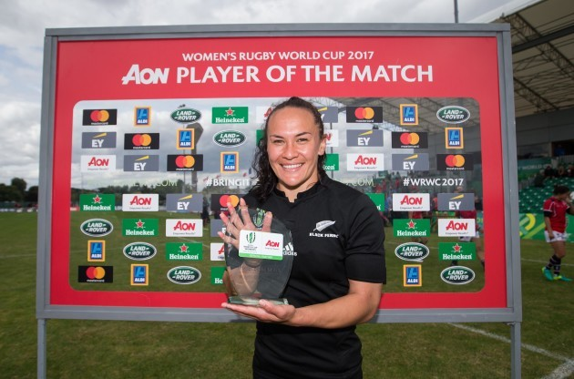 Portia Woodman wins the player of the match award