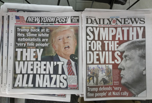 NY: New York newspapers report on Trump defense of alt-right