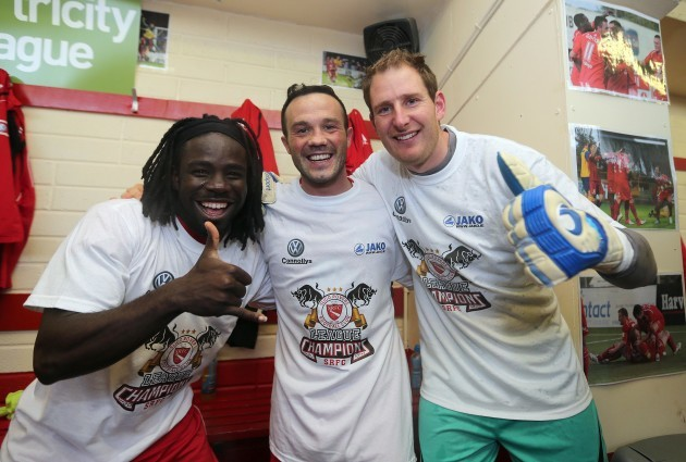 Pascal Millien, Raffaele Cretaro and Gary Rogers celebrate after the game