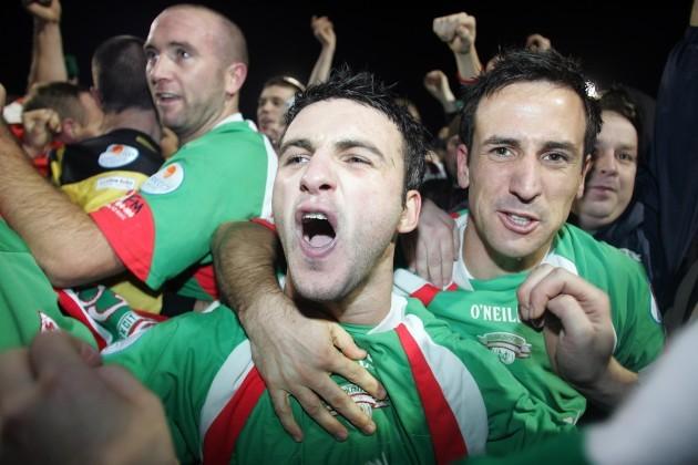 Cork City's Danny Murphy and Neale Fenn celebrate winning the League