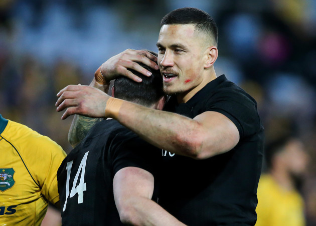 Ben Smith celebrates his try with Sonny Bill Williams