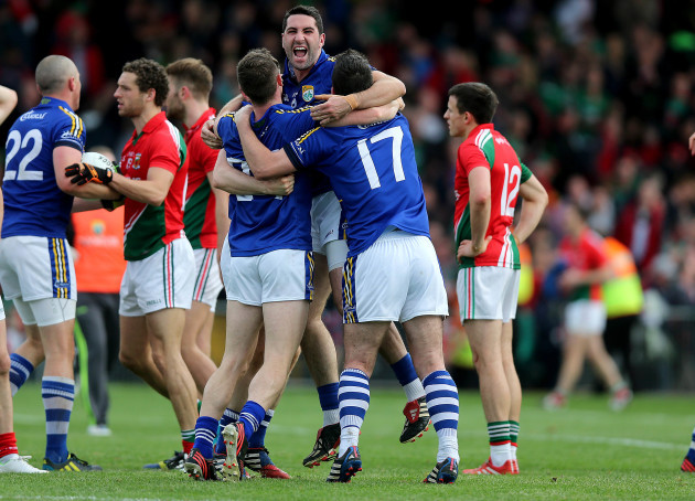 Bryan Sheehan, Kieran O'Leary and Declan O'Sullivan celebrate at the end of the game