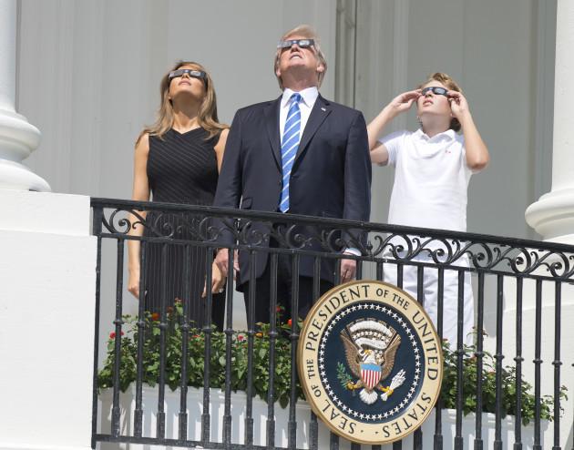 Trumps Watch Solar Eclipse - Washington