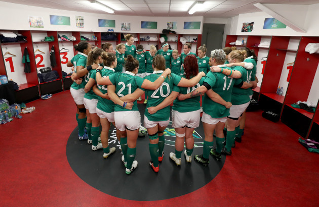 The Ireland team huddle before the game