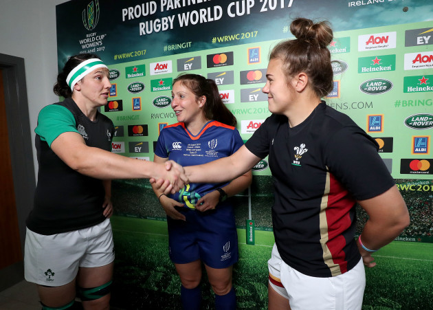 Paula Fitzpatrick, Claire Hodnett and Carys Phillips during the coin toss