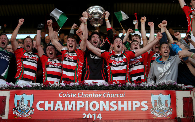 David Lordan lifts the cup