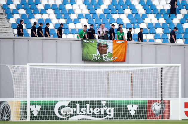 Ireland fans set up flags