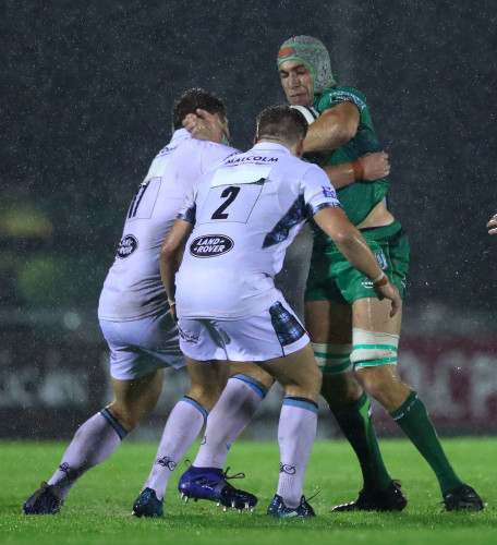 Ultan Dillane is tackled by Oli Kebble and George Turner