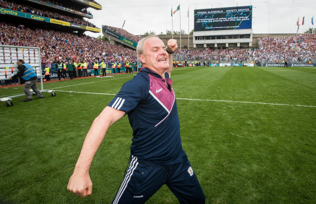 Michael Donoghue celebrates at the final whistle