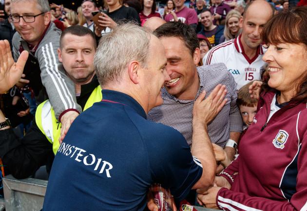 Michael Donoghue celebrates with Alan Kerins