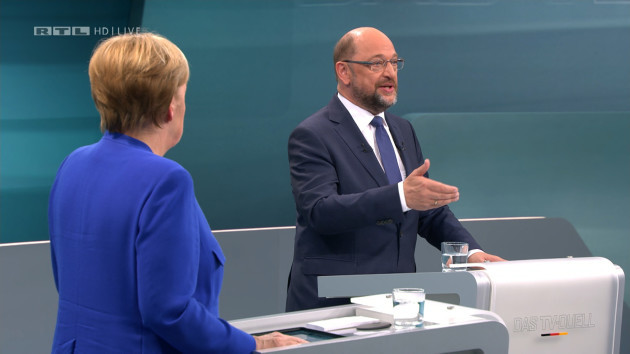 TV duel - Angela Merkel and Martin Schulz