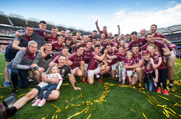 Galway team celebrate with the Liam MacCarthy cup
