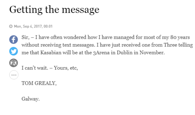 An 80 year old mans first ever text inspired this gas letter to the i have just received one from three telling me that kasabian will be at the 3arena in dublin in november i cant wait spiritdancerdesigns Images