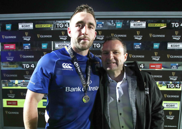 Jack Conan is presented Guinness PRO14 Man of the Match award by Niall Lawless