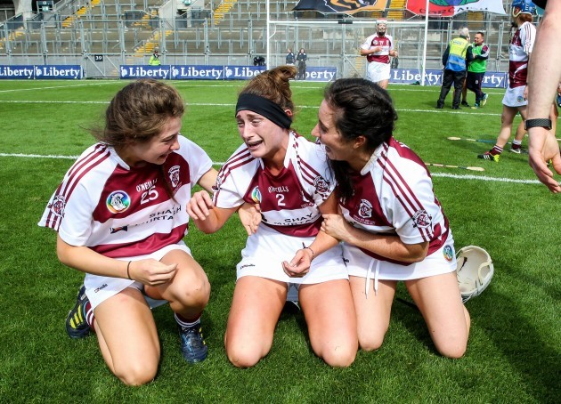 Niamh Horan, Sarah King and Denise McGrath celebrate winning
