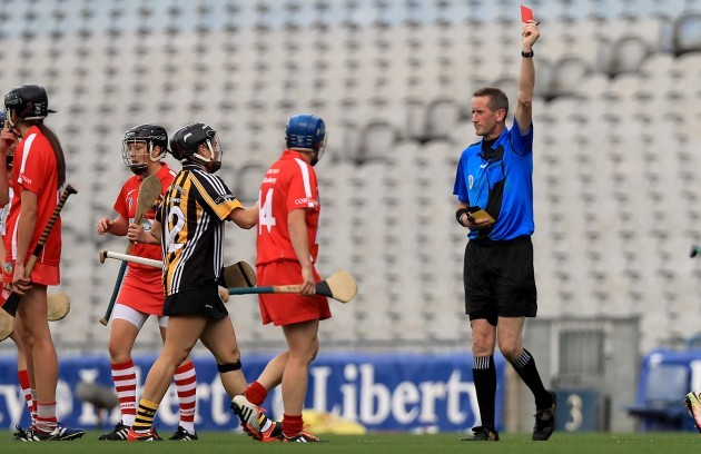 Gemma O'Connor is sent off by referee Eamon Cassidy