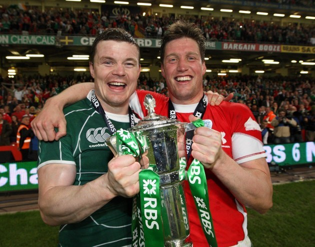Brian O'Driscoll and Ronan O'Gara celebrate with the Six Nations Trophy