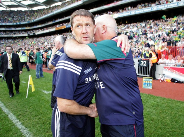 Jack O'Connor is congratulated by John Morrison after the game