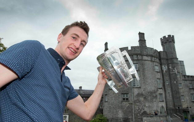 Joey Holden with the Liam McCarthy cup at Kilkenny Castle