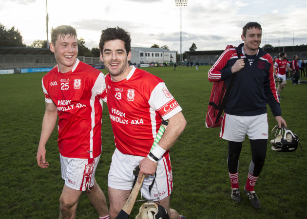 Colum Sheanon and Con O'Callaghan celebrate at the final whistle