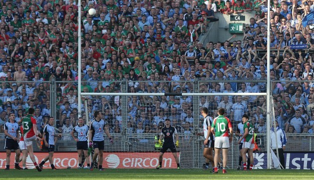 Mayo's Cillian O'Connor kicks Mayo's last score in injury time