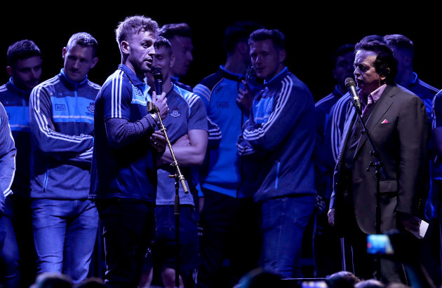 Jonny Cooper addresses the crowd