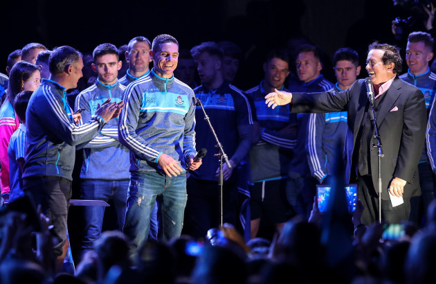 Jim Gavin with Stephen Cluxton and Marty Morrissey