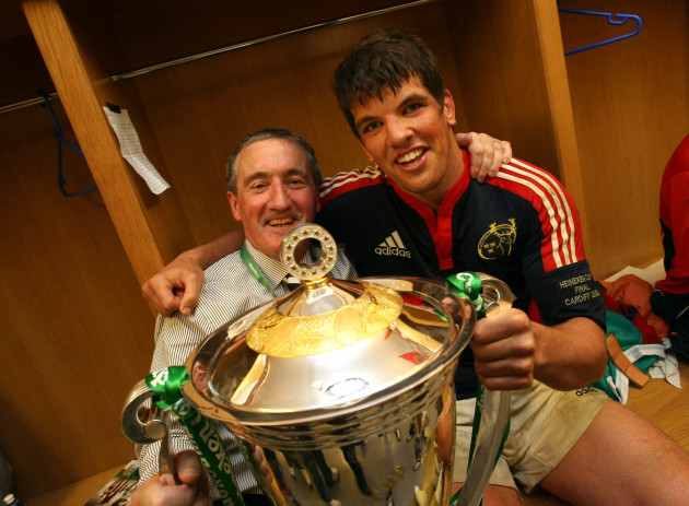 Pat Geraghty and Donncha O'Callaghan in the changing room with the Heineken Cup Trophy