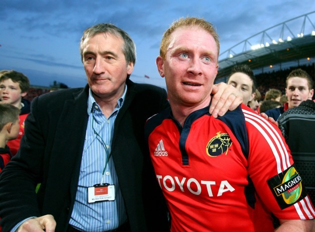 Munster PRO Pat Geraghty with Anthony Horgan following his final appearance for Munster 15/5/2009