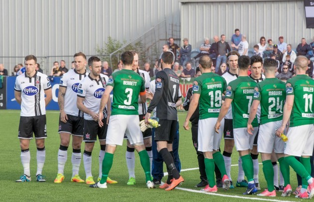 Cork City and Dundalk players before the game