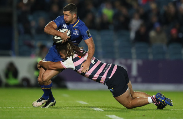 Leinster's Rob Kearney is tackled by Cardiff Blues Josh Navidi