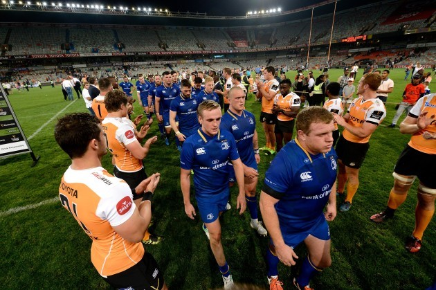Cheetahs players clap off the Leinster team after the game