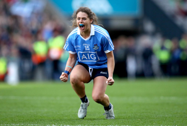 Noelle Healy celebrates at the final whistle