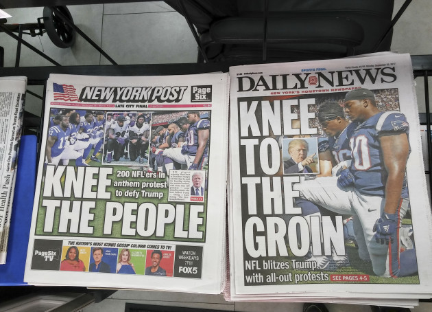 NY: New York newspaper coverage of NFL players and Donald Trump feud