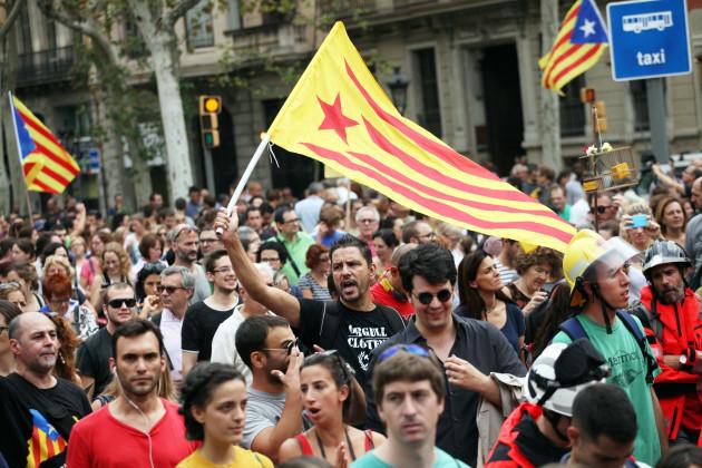 Spain: Demonstration Against Police Brutality in Catalonia's Referendum