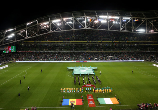 Ireland and Moldova stand for the anthems