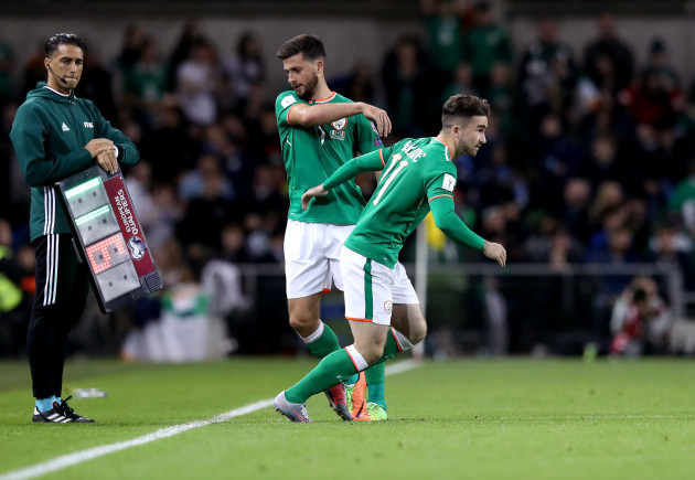 Sean Maguire makes his debut coming on for Shane Long