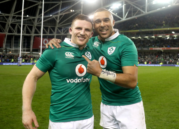 Andrew Conway and Simon Zebo celebrate winning