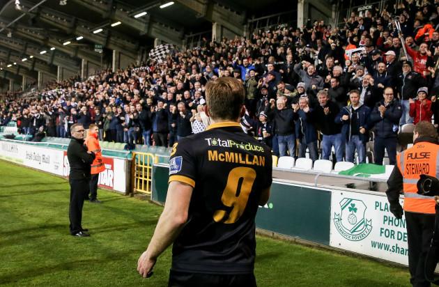 David McMillan celebrates scoring a goal with the Dundalk fans