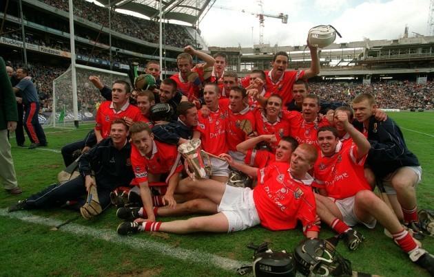 Cork players celebrate victory