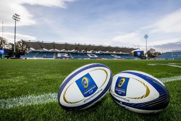 A general view of Champions Cup match balls at the RDS