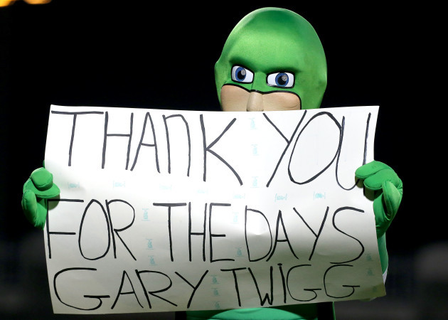 Rovers' mascot Hooperman with a message for Gary Twigg