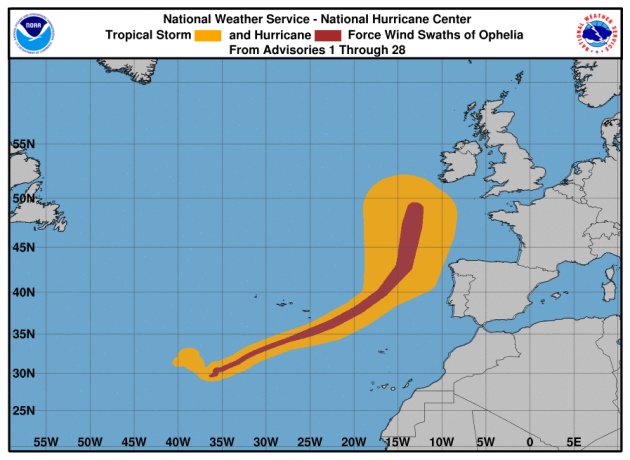 Hurricane Ophelia now risky Category 3, sixth major hurricane this season